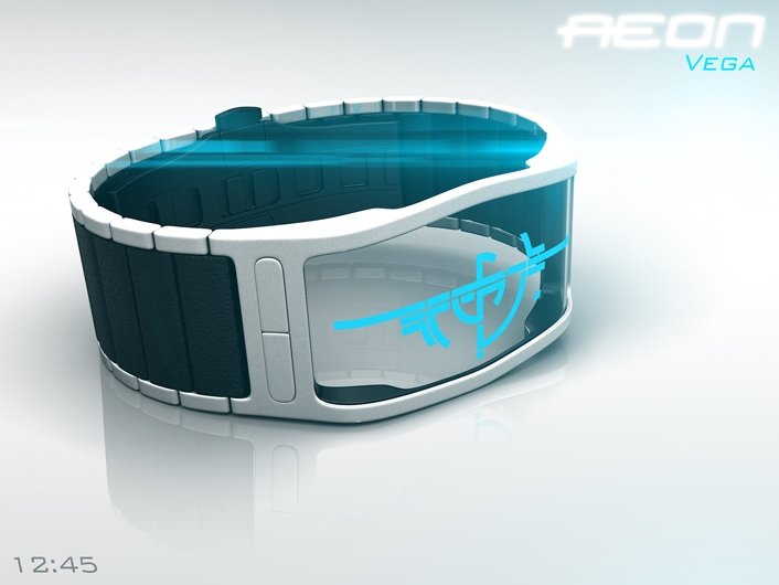 Aeon Transparent LCD watch resembles Alien Tattoo on your wrist.
