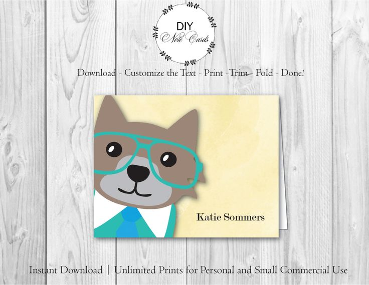 Best Cat Monogram Printable DIY Note Cards Images On Pinterest - Print on index cards template