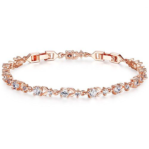 ON SALE AT http://jewelrydealsnow.com/?a=B01BV0JD50 - Bamoer Luxury Slender Rose(White) Gold Plated Bracelet with Sparkling Cubic Zirconia Stones 10 Style to Choice""