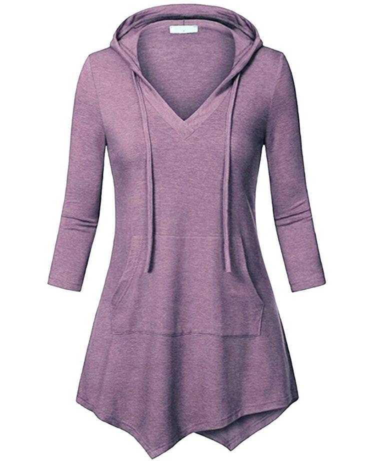 Women's 3/4 Sleeve Kangaroo Pocket Pullover Hoodies Shirts Casual Tunic Tops – Purple – CV188TOQ8DG