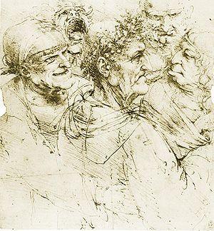 Ilustración de Leonardo da Vinci representando los cuatro humores hipocráticos. La teoría de los cuatro humores achaca un tipo de comportamiento al exceso o defecto de alguno de ellos. Así, aquellos individuos con mucha sangre se consideraban sanguíneos (emocionales), aquellos con mucha flema eran denominados flemáticos (equilibrados), aquellos con mucha bilis eran coléricos (irascibles, violentos), y aquellos con mucha bilis negra se denominaban melancólicos (apáticos, tristes).