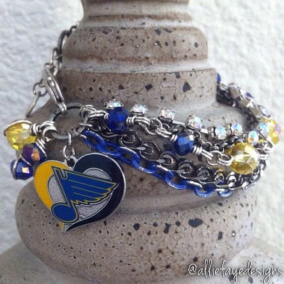 St. Louis Blues NHL Hockey Multichain, rhinestones and crystals charm bracelet by alliefayedesigns on Etsy