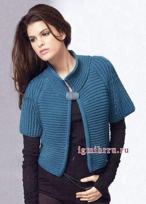 Сине-зеленый шерстяной жакет с короткими рукавами. Вязание спицами