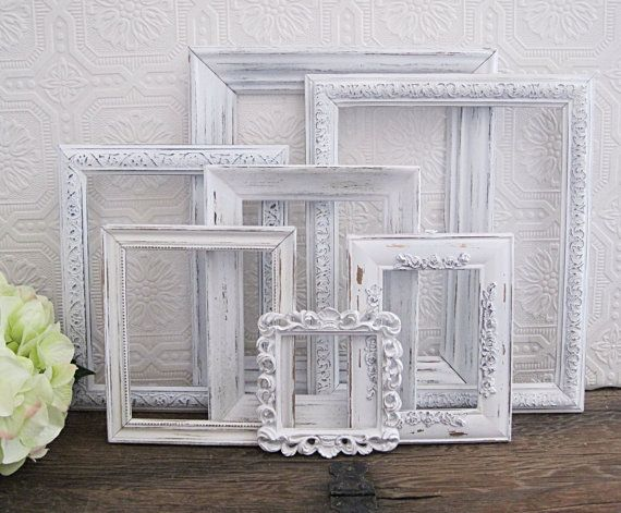 Empty picture frame set of 7 antique white shabby chic - White wall picture frames ...