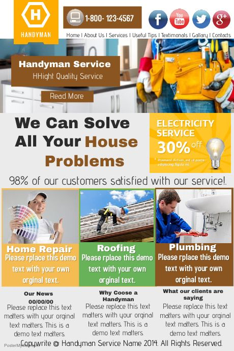 Best Handyman Services Flyers  Print Templates  Psd Images On