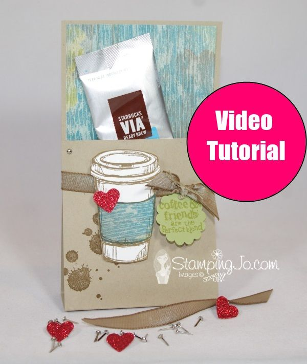 Starbuck Iced Coffee Packet Holder- Video Tutorial http://www.stampingjo.com