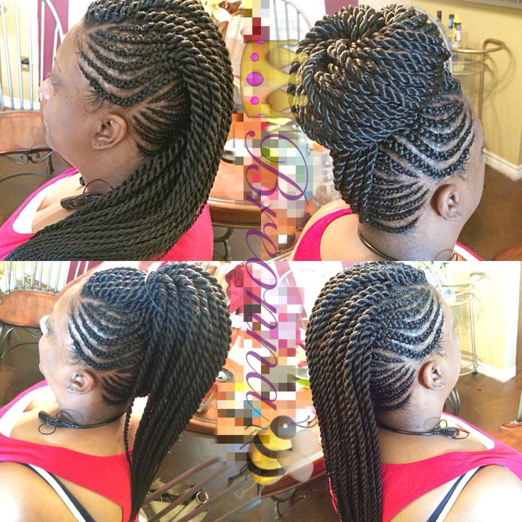 Needle Point Braids // Ghana Braids MoHawk with Senegalese Twist in the middle that I did on my in law. Too Cute #NaturalHair #ProtectiveStyle.
