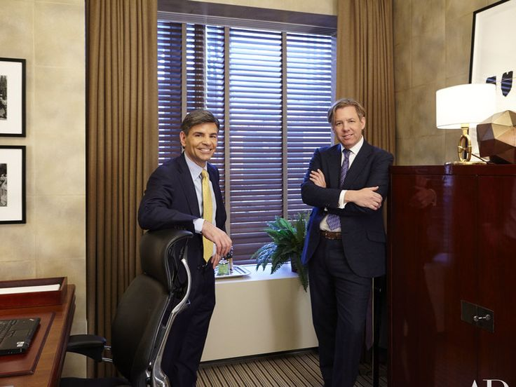 """Ali Wentworth, """"George Stephanopoulos's Office Makeover at Good Morning America,"""" Architectural Digest (2 February 2016). Good Morning America anchor George Stephanopoulos used to prep for his daily show in a drab, disorganized office—then designer Michael S. Smith came to the rescue."""