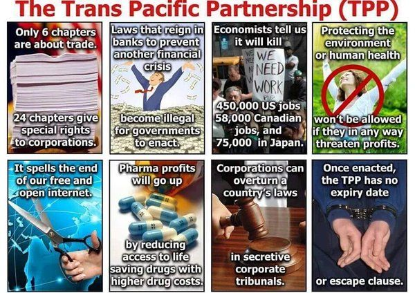 The Trans Pacific Partnership (TPP) | Only 6 chapters are about trade. 24 chapters give special rights to corporations | Laws that reign in banks to prevent another financial crisis become illegal for governments to enact. | Economists tell us it will kill 450,000 US jobs, 58,000 Canadian jobs and 75,000 in Japan. | Protecting the environment or human health won't be allowed if they in any way threaten profits. | It spells the end of our free and open internet. ...