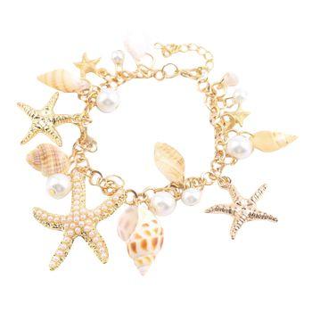 Mujeres de la manera Del Océano Estilo de Múltiples Estrellas de Mar Estrella de Mar Concha de Perla Simulada de La Cadena Brazalete de la Pulsera de La Novedad de la Playa 2016 Caliente venta