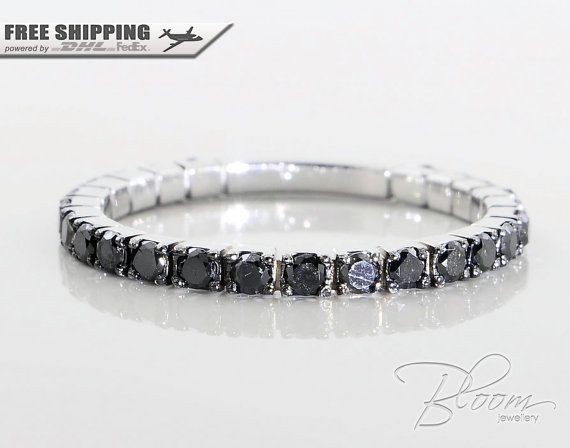 Black Diamond Eternity Ring 18k White Gold by BloomDiamonds