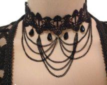 Negro gargantilla de encaje, accesorio de Downton Abbey, cinta elección,  joyas de encaje