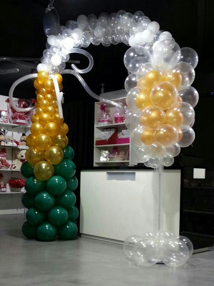 Champagne arch pinterest for Champagne balloon wall