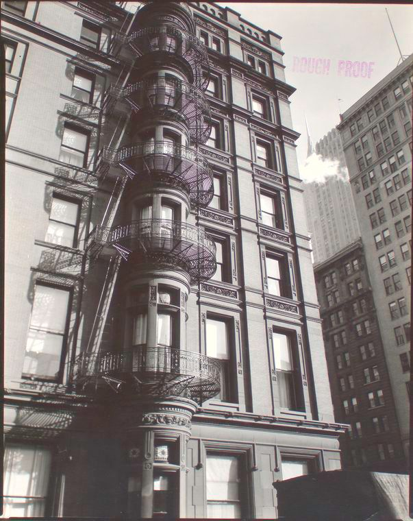 Murray Hill Hotel, Manhattan.  Check out the fancy fire escapes.  Berenice Abbott, vintage NYC photo, November 19, 1935.