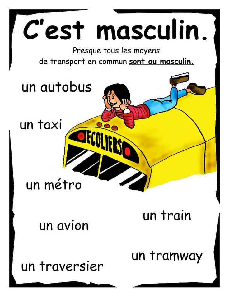 """C'est masculin """" LES MOYENS DE TRANSPORTS """""""