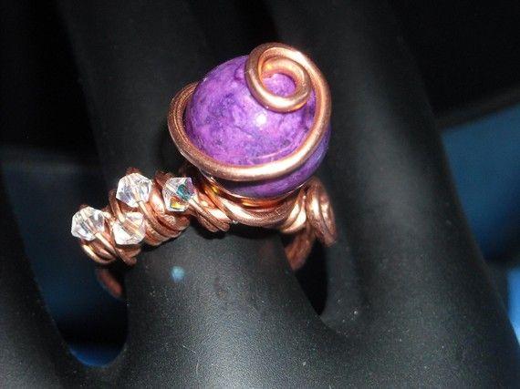 Purple Fossil Stone Copper Wire Wrapped Ring - Asymmetrical - Unique Fashion Asymmetric Design Purple Stone Ring Handmade