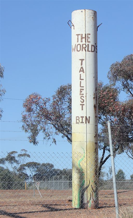 At the top end of Hannan Street, Kalgoorlie, stands the self proclaimed World's Tallest Bin