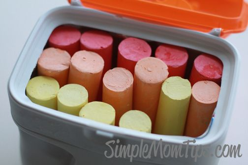 Chalk storage with baby formula containers.