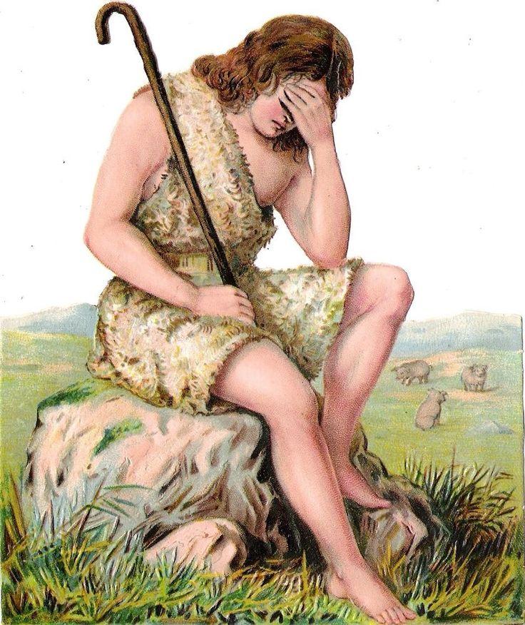 Oblaten Glanzbild scrap die cut chromo Bibel Szene 14,4 cm verlorener Sohn son