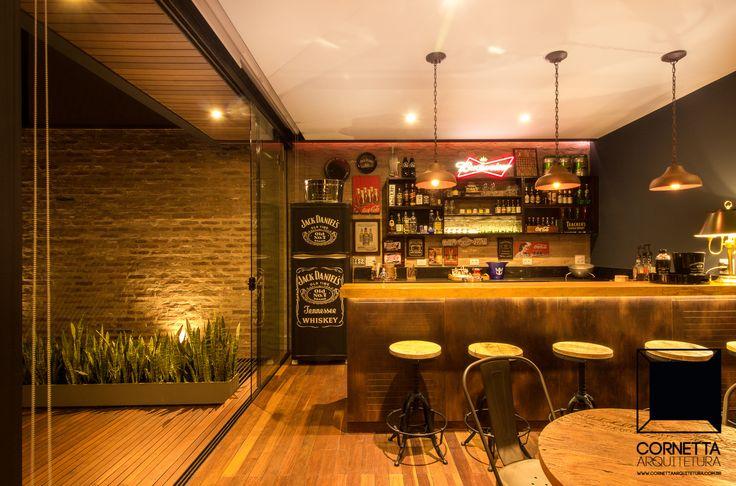 Projeto para loft em estrutura metálica, madeira e vidro. #cornetta #arquitetura #lofts #gourmet #casasmodernas