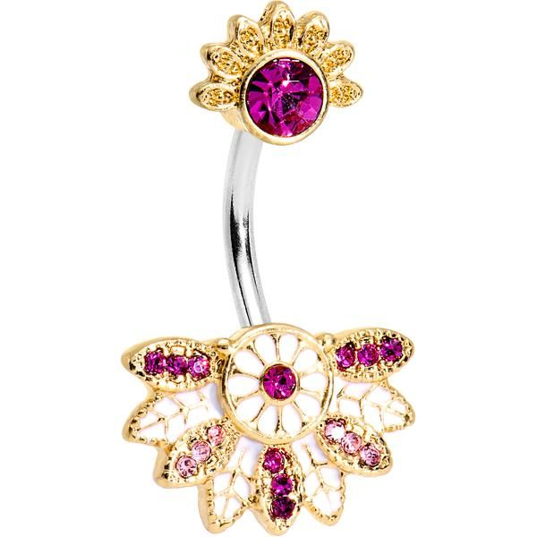 Pink Gem Tropical Flowering Fan Double Mount Belly Ring