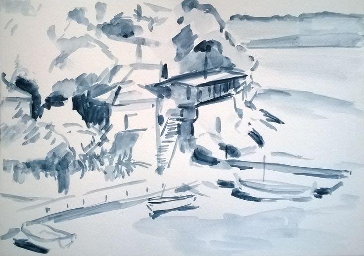 Uvala Veprinova - harbor watercolour drawing