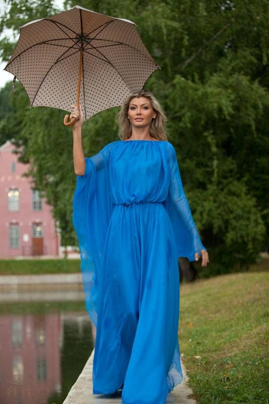 """Платье длинное шифоновое """"Круизное"""" - голубой,однотонный,платье длинное Лана Кмекич"""
