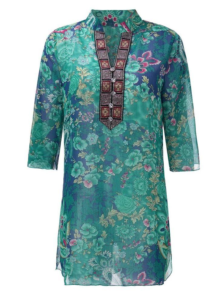Ethnic Floral Printed Half Sleeve V-neck Women Chiffon Blouse