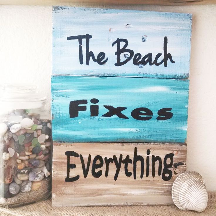 Fact: The beach DOES fix everything. | Find all 5 rustic beach art designs at http://www.groopdealz.com