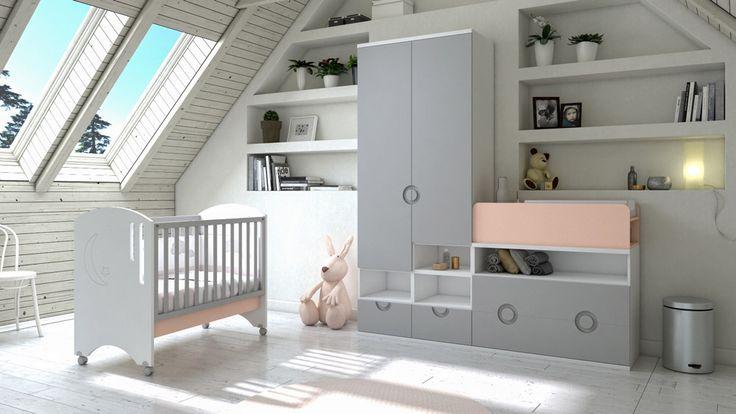 Cuna Coba con elementos de libre configuración para adaptarse a cualquier habitación.