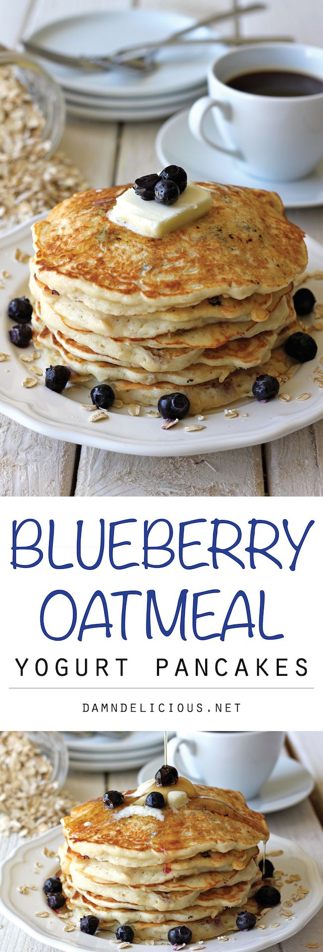 Blueberry Oatmeal Yogurt Pancakes - Start your mornings off right with these light and fluffy, healthy pancakes chockfull of juicy blueberries!
