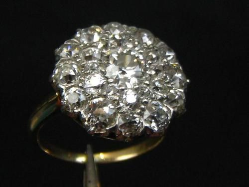 Antique 14K Yellow Gold Diamond Cluster Engagement Ring 2.84ct c1920
