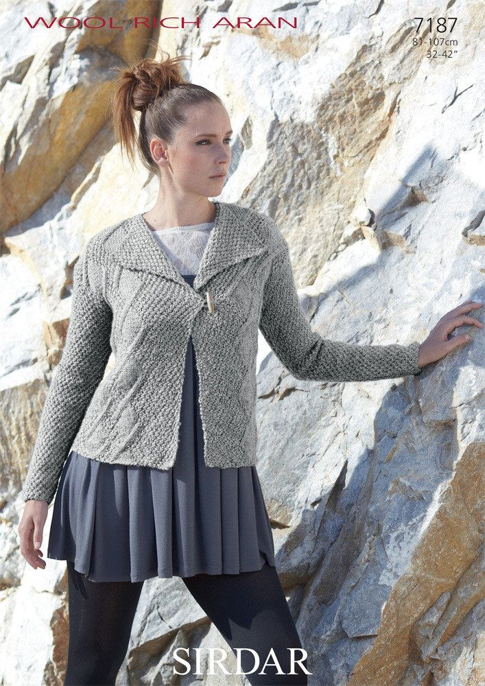 Woman's Jacket in Sirdar Wool Rich Aran - 7187 - Downloadable PDF. Discover more patterns by Sirdar at LoveKnitting. The world's largest range of knitting supplies - we stock patterns, yarn, needles and books from all of your favourite brands.