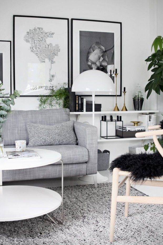 Black on white modernity, textured grays and fresh greeneries