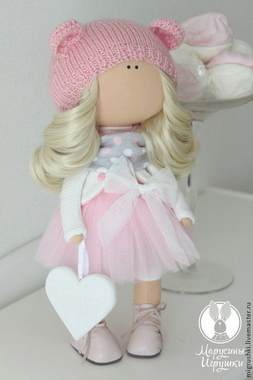 Купить Малышка-мишка - белый ангел, пупс, кукла ручной работы, кукла интерьерная