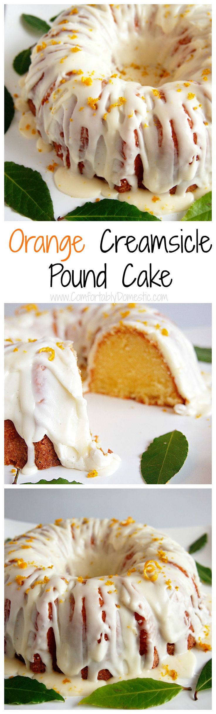 Orange Creamsicle Pound Cake marries zesty orange pound cake with creamy vanilla icing for a taste as refreshing as the nostalgic frozen treat. via @comfortdomestic