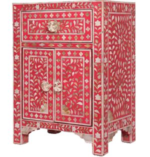 Pink Mother of Pearl Bedside Cabinet