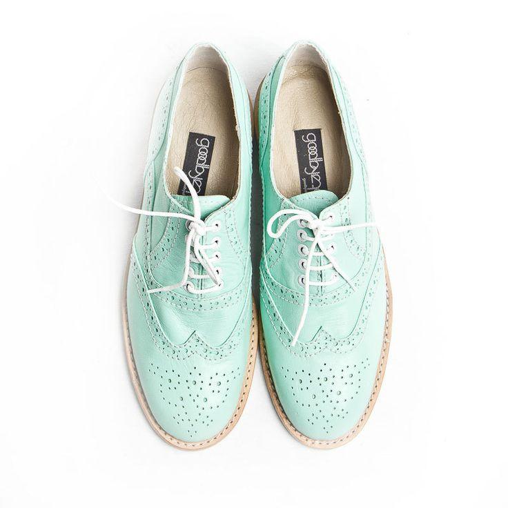 mint oxford brogue shoes