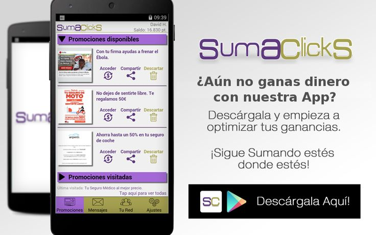 Hola, quieres ganar dinero probando nuevas aplicaciones gratis y viendo promociones?  instala SumaClickS desde http://www.sumaclicks.com/app/dm6BH  y convierte tu smartphone o PC en una maquina de hacer dinero  #GanarDinero