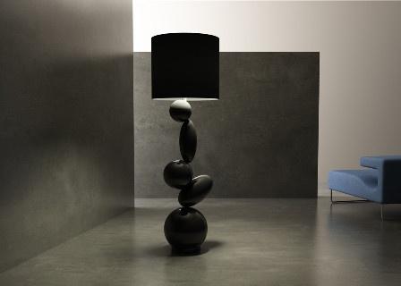 Lámpara negra de pie con detalle de piedras