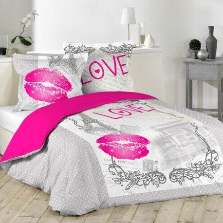 Parure de lit Love Paris 100% coton !