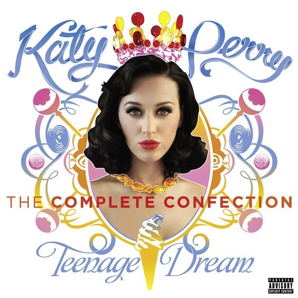 """Teenage Dream: The Complete Confection is the re-released version of @Katy Perry's 2nd Album 'Teenage Dream' and features the singles """"Part Of Me"""" and """"E.T."""" with Kanye West."""