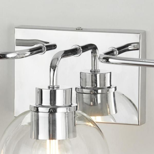 Home Decorators Collection Lawrence 3 Light Polished Chrome Vanity Light Hd 1681ch The Home Depot Vanity Lighting Polished Chrome Vanity Light Bar