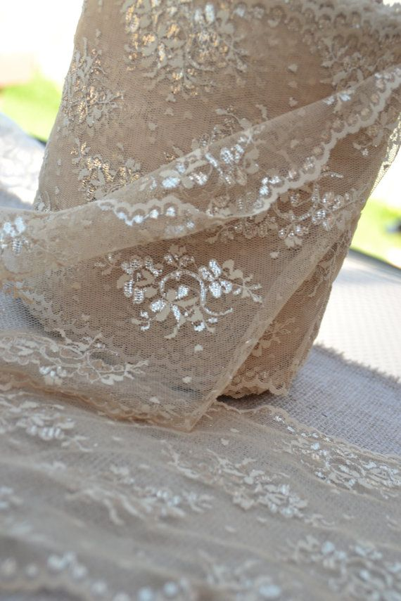 """90"""" by 9 5/8"""" wide Lace Trim Champagne with Gold Highlights 9 ft long Cut Lace Piece Perfect for Table Runner-Clothing,Veil,Trim Sari on Etsy, $9.19 AUD"""