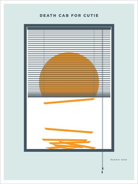 This next piece of minimalist art from designer and illustrator Jason Dunn was for the popular band Death Cab for Cutie. It was done for DCFC's 2012 summer tour.   Do you like this poster? - Come to Poster VineVine.com and Vote It To The Front Page - if not then Vote It Down.  via: http://www.postervine.com/death-cab-for-cutie-summer-2012-tour-poster/