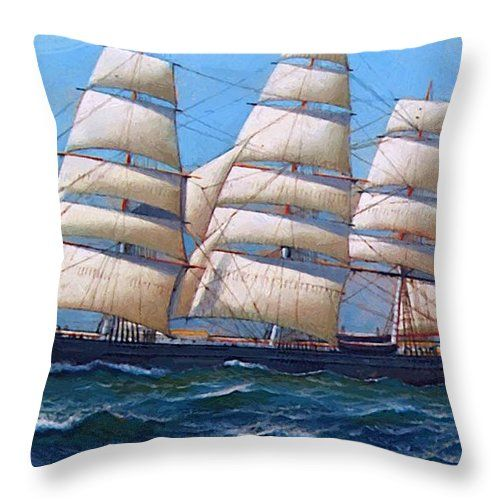 The Throw Pillow featuring the painting The American Clipper Ship Gamecock Under Full Sail 1918 by Jacobsen Antonio