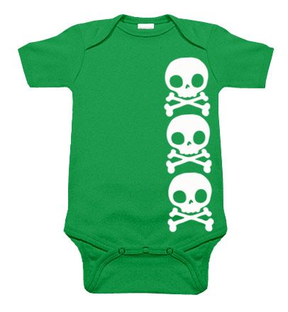Stacked Skull Kelly Green One Piece [10135] http://www.punkbabyclothes.net/ $18