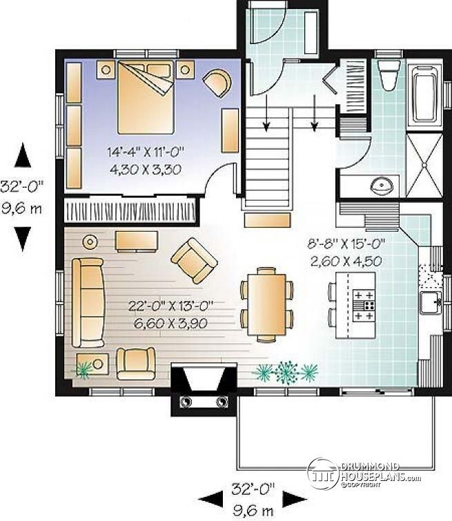 1st level Lakefront scandinavian cottage house plan, walkout basement, 3 to 4 bedrooms, 2 family rooms and 2 fireplaces - Lombard
