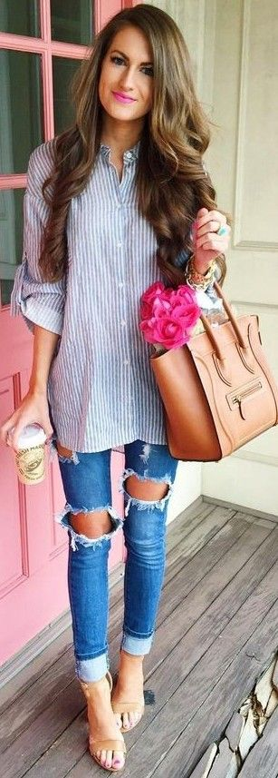 #summer #preppy #outfits | Striped Button Down + Ripped Jeans