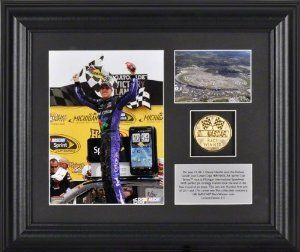 Denny Hamlin 2011 Heluva Good! 400 Winner Framed Photograph With Plate And Gold Coin - Limited Edition Of 311 by Mounted Memories. $44.99. Celebrate Denny Hamlin, the winner of the 2011 NASCAR® Heluva Good!® Sour Cream Dips 400 at Michigan International Speedway®, with this framed collectible from Mounted Memories®. It features a color photo, a descriptive plate, and a 10KT gold-plated commemorative coin. A certificate of authenticity is also included.